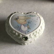 Precious Moments August Covered Box Peridot Nwt (barcode Tag)