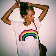 Gr.S-XL Damen Regenbogen Muster T-Shirt Tops Blusen Freizeit Damenhemden