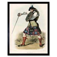 Painting Portrait Highland Clan Scotland Tartan Maclachlan 12X16 Framed Print