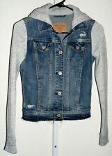 HOLLISTER Distressed Jean Jacket/Hoodie Heathered Gray sleeves Girls Size XXS