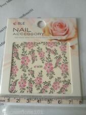 Nail tip Art stickers transfer Wrap water decals Pink Flower Leaf Manicure M39