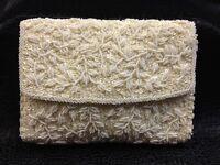 VTG La Regale White Glass Hand Beaded Clutch Retro Sequin Handbag Evening Bag I