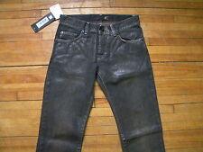 JUST CAVALLI COOL SLIM FIT BLACK SHINNY COATED DENIM BIKER ROCKER JEANS S 29 43
