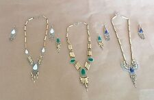 Lot of 3 Sets Alpaca Silver And Bamboo necklace and earrings/semiprecious Stones
