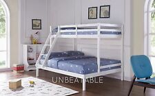 Triple Wooden Bunk Bed Frame Only Children Kids Natural Pine Solid Wood
