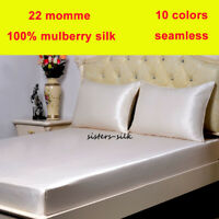 3pc 22 Momme 100% Mulberry Silk Fitted / Bottom Sheets Pillow Cases Set Seamless