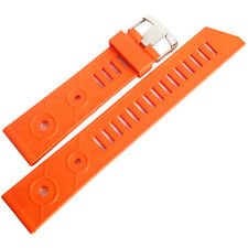 22mm Bonetto Cinturini 281 Orange Rubber Made in Italy Dive Watch Band Strap Men