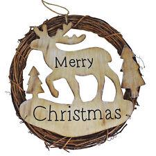 Decoration 24cm Rattan Wreath & 'Merry Christmas' Wooden Reindeer Centre