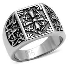 HCJ Silver Tone Antique Finish Religious Cross Coat of Arms Men's Ring SIZE 9
