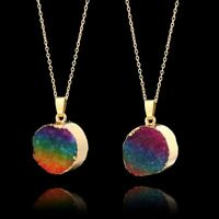 Druzy Quartz Necklace Gold Plated Chain Rainbow Crystal Pendant Natural Stone