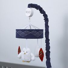 Nojo Teepee Baby Musical Crib Mobile Blue White Owls Feather Birth - 5 months