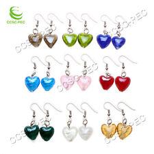 FREE wholesale 10pairs Fashion Heart Lampwork Glass bead Silver Tone earrings