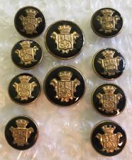 Black Enamel & Gold Blazer Button Set 10 For 2 Button Crown Coat Of Arms