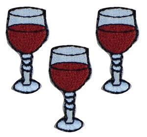 "Glass of Wine Applique Patch - Pinot Noir, Cabernet, Merlot, 1""(3-Pack, Iron on)"