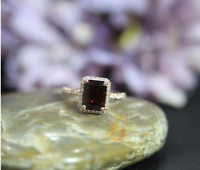 2 Ct Emerald Garnet Diamond Halo Solitaire Engagement Ring 14k Rose Gold Over