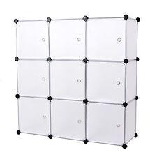 Mobiletto armadio modulare quadrato impermeabile resistente BIANCO 9 scomparti