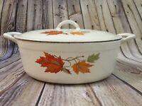 Vintage Descoware Belgium Enameled Cast Iron Oval Dutch Oven Maple Leaf 2 Pieces