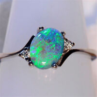Women 925 Silver Jewelry Green Fire Opal Gems Wedding Engagement Ring Size 6-10
