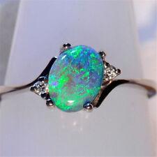 925 Silver Jewelry Green Fire Opal Gems Women Wedding Engagement Ring Size 6-10