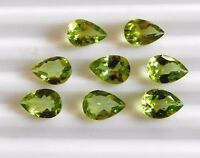 10 Cts 8 Pcs Natural Peridot Pear Cut Lot Loose Gemstone 6 X 9 MM B-171
