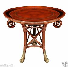 MAITLAND SMITH ENGLISH REGENCY STY EMBOSSED LEATHER BENTWOOD PEDESTAL SIDE TABLE