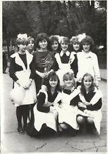 High school graduation teen girls pioneer uniform Russian Soviet vintage photo