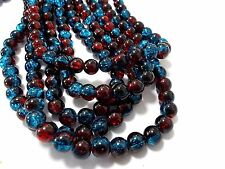 110pcs 8mm CRACKLE Glass Round Beads - RED & BLUE (1 strand ) Themecrafts