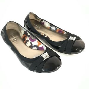 Coach Womens Dwyer Ballet Flats Shoes Black Patent Leather Slip On Size 7.5 M