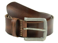 Mens Real grain Leather Belt Crunch wide heavy Milled strap for jeans Trouser NY