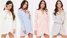 New Womens Ladies Long Line Button Detail Long Sleeve Tuxedo Blazer Dress Top UK