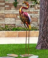 3 Ft. Flamingo Bird Garden Yard Statue Metal Stake Lawn Art Decor Ornament