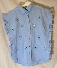 "CHILDRENS GIRLS /""EX M/&S/"" LIGHT DENIM TUNIC SHIRT ROLL UP SLEEVE EMBROIDERED NECK"