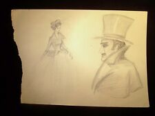Top Hatter & Ballgown Lady 1946-59 Original Pencil Double Sketch By C. Kelm