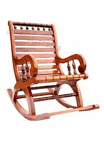 Wood Rocking Rolling Chair Antique Vintage Home Office Furniture Decor