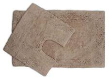 2 Piece Latte Bath Mat and Pedestal Set with Non Slip Back 100% Cotton Pile