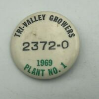 1969 Trim Valley Growers California Canning Employee ID Badge Pin Vtg Rare   S7