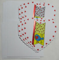 "Valentine's Day Handmade Gift Heart Card 3"" x 3"" Lot 6 w/envelopes A Sweet Tweet"