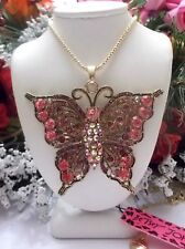 BETSEY JOHNSON LARGE PINK CRYSTAL & RHINESTONE INLAY BUTTERFLY PENDANT NECKLACE