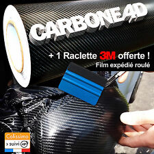 Carbone 4D Noir 150cm X 200cm + Raclette 3M Car Covering Habillage Film Vinyle