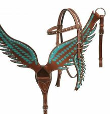 Showman TEAL Angel Wings Medium Leather Bridle Headstall Breast Collar Crystals