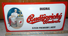 Vintage PORCELAIN BUDEJOVICKY BUDVAR CZECH LAGER 10in x 20in Beer SIGN Brew RARE