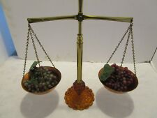 """Vintage Scale of Justice Scale Brass Amber glass copper bowls 15¼"""" Tall Retro"""