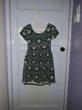 GIRLS SUMMER DRESS BLACK GREEN  AGE 13 -14 YEARS SIZE XS