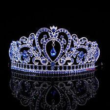 6.5cm Hoch Blau Herz Blume Hochzeit Braut Haarschmuck Krone Diademe Tiara