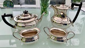 Silver-plated four-piece teaset