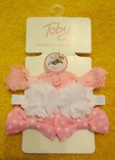 Toby & Company Girls' 6 Piece Pastel Flower Bow Set, Light Pink/White,One Size