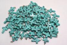 FREE wholesale 30X Cross natural Turquoise gemstone stone Silver P pendant Bead