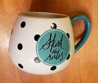 Fun Skirt the Rules Fashion Clay Art Coffee Cup Mug Polka Dots Turquoise Lady