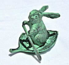 Cast Iron Rabbit Rowing On Leaf With Green Faux Patina Verdigris Finish Euc