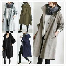 Para mujer de gran tamaño con capucha Rompevientos Lluvia Chaqueta Gabardina Abrigo Suelto